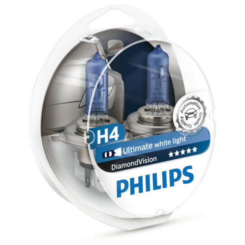 1 of 1 - Philips Diamond Vision 5000K H4 Car Headlight Globes (Twin Pack of Bulbs)