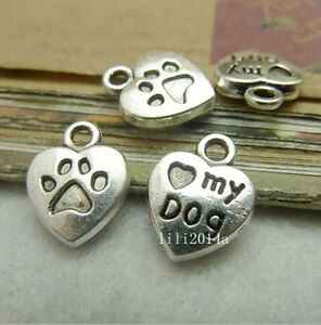 20pc Tibetan Silver Heart My Dog Pendant Charms Beads Craft