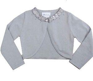 little girl 2t 6x metallic silver ribbon trim bolero cardigan knit