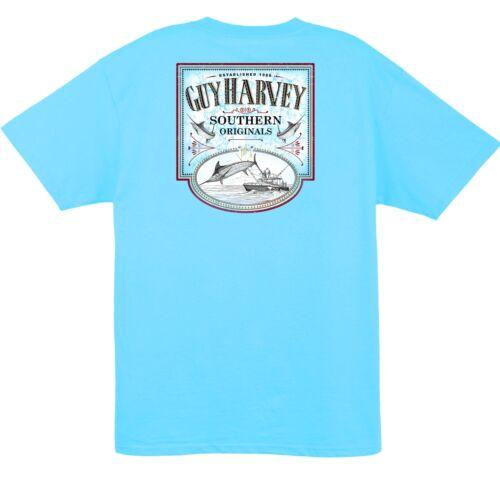 Guy Harvey Southern Originals S//S Sweet Caramel Pocket T-shirt...Pool Blue