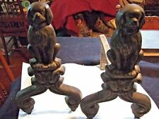 """Cavalier King Charles Spaniel Andirons, 13x13"""" cast iron fire dogs Black, small"""