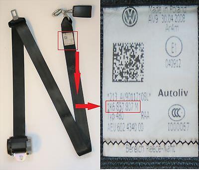 VW Seat Belts From £4.95 Passengers Side Rear Polo 2004 6Q0 857 805
