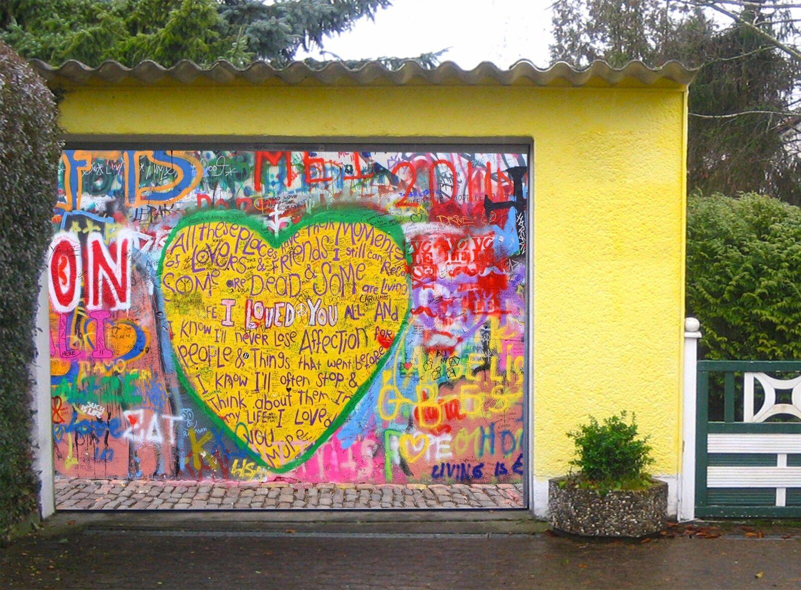 3D Heart, graffiti Garage Door Murals Wall Print Decal Wall Deco AJ WALLPAPER UK