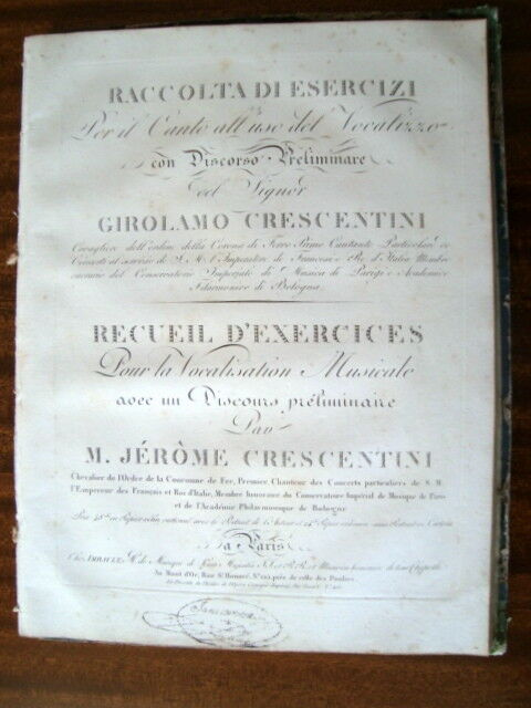 Crescentini-Girolamo raccolta di Esercizi - + recuelil d'exercises Raro edn. edn. Raro b47551