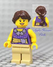 NEW Lego City FEMALE MINIFIG w/Gold & Purple Girl Torso - Tan legs & Brown Hair