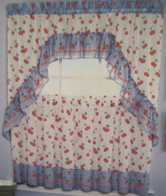 Saturday Knight Ltd Jubilee Cherries 24L Tiers Swag Set Kitchen Curtains