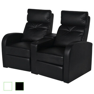 Artificial Leather 2 Seat Home Theater Movie Tv Recliner Sofa Lounge White Black
