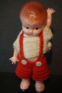 VTG-Knickerbocker-Plastics-Co-6-034-Carnival-Doll-Crochet-Lederhosen-Molded-Shoes