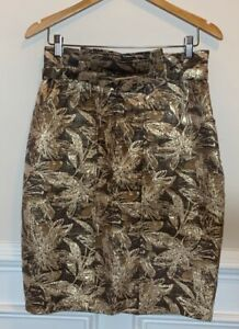 Eva Franco Womens Pencil Skirt Metallic Brown Floral Above Knee Lined Belted 10