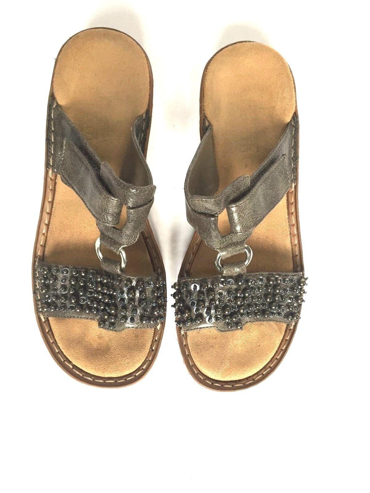 RIEKER Sandals Slip-on shoes Silver Sparkle Women's size 37 (US 7) Slight Wedge
