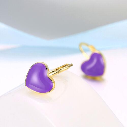 Wholesale Lovely 18K Gold Filled Oil Drip Purple Love Heart Earrings