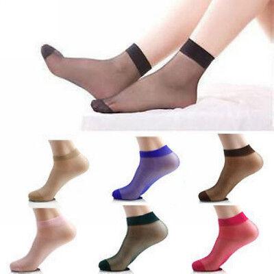 10/50pair Red/Grey/Dark Nude/Black/Coffee Woman's Short Silk Ankle Socks