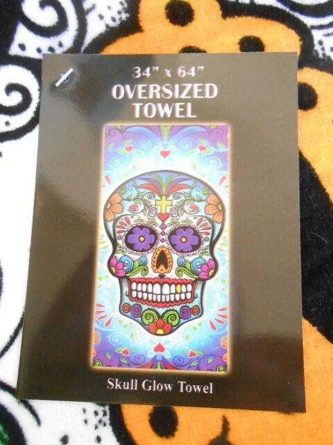Sugar Skull Pink Day of Dead Pool Bath Beach Souvenir Cotton Towel 30X60 NEW