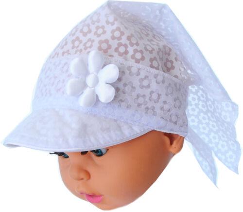 Kopftuch Baby Kinder Taufe Mütze Schild Mützchen Kopfbedeckung Bandana Weiß NEU