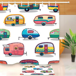 Camper-Camping-Themed-Bathroom-Shower-Curtain-Hooks-Polyester-Fabric-Waterproof