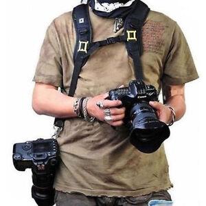Double Dual Shoulder Sling Belt Strap for 2 Digital SLR DSLR 2 Cameras Fast Ship 3699108954758