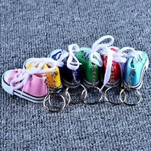 Multi-Color-Canvas-shoes-key-buckle-Mini-Shoe-Key-Chain-Kids-Party-Gift