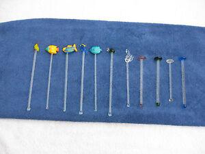Vintage Lot of 11 Misc. Glass Swizzle Sticks