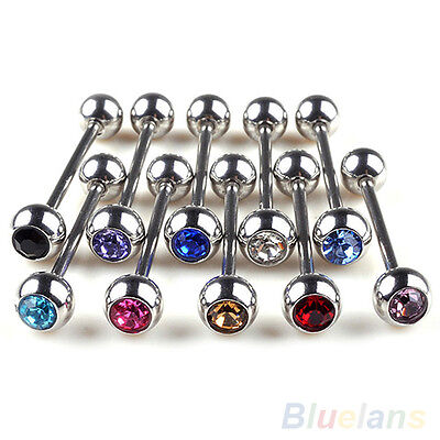 10PCS LOTS STAINLESS STEEL GLITTER BALL TONGUE BARS RINGS BARBELL BODY PIERCING