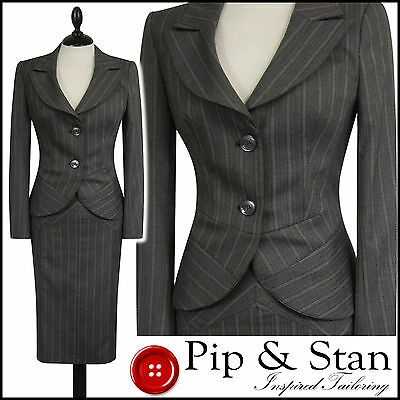 NEXT UK14R US10 GREY PENCIL SKIRT SUIT 50S WOMEN LADIE SIZE PIP AND STAN