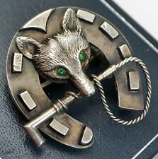 Antique SOLID SILVER Unusual FOX HEAD and HORSESHOE Equestrian BROOCH Victorian