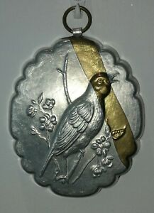 Vintage Aliminium  Small Pie/Jelly Mould Bird Decoration. Wall Hanging Hook   b