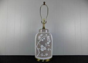 Frederick-Cooper-ceramic-amp-brass-lamp-raised-flowers-Asian-chinoiserie-style