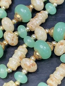 """Vintage 1950's Tan Lucite imitation Jade  beaded long necklace  24"""""""