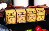 Vintage Spice Tins & Shelf Rustic Rack Box Prim Antique Style Kitchen Decor