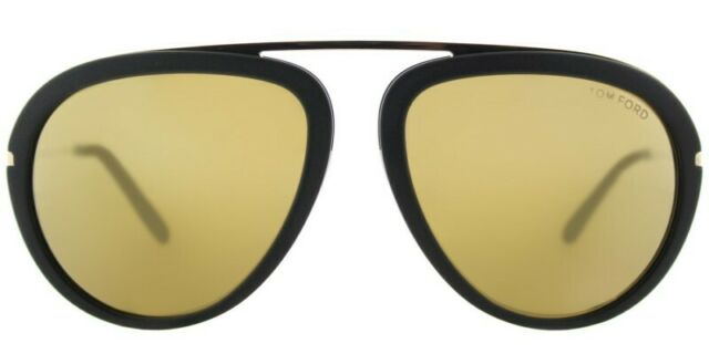 53cfbff0d9c7 New Tom Ford Stacy TF 452 02G Matte Black Plastic Sunglasses Gold Mirror  Lens