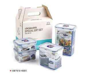 Lock & Lock Classic Food Storage Set: 4 Stackable Airtight Containers, Blue Seal