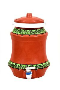 Indien traditional Handmade Designed Water Cooler or Pot with Plastic Tap Brown