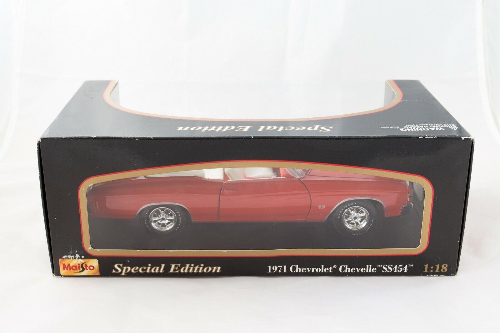 1//18 1971 CHEVROLET CHEVELLE SS 454 American Sport Coupé MUSCLE CAR 1:18 Bleu