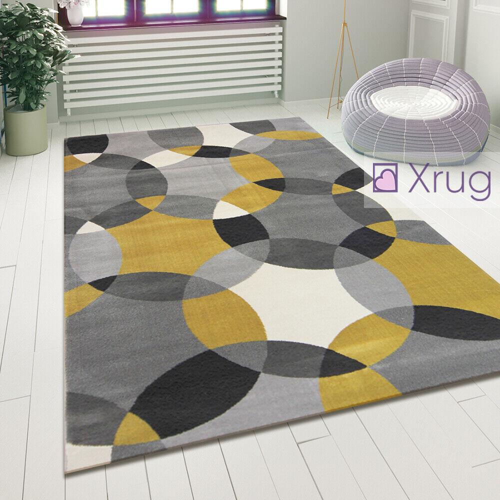 grau Ochre Rug Modern Geometric Pattern Floor Mat Small Large Bedroom New Carpet