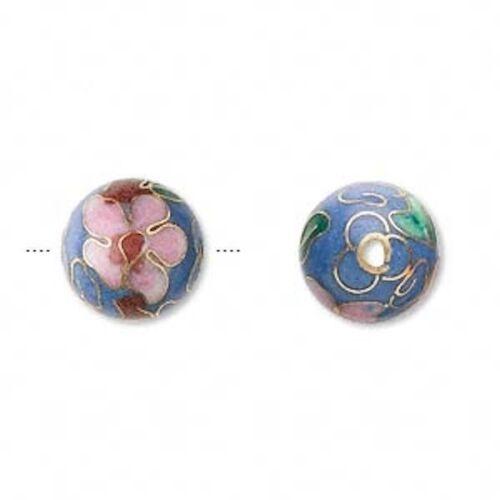 10 Gold Plated Medium Blue Cloisonné 12mm Round Beads