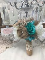 Rustic Shabby Burlap Toss/bridesmaids Small Wedding Bouquet Country Teal