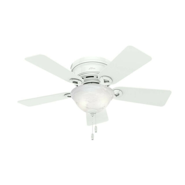 Conroy Snow White Low Profile Ceiling Fan With Light New