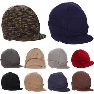 f77df63455026 Plain Visor Cuff Beanie Knit Cap Hat Ski Thick Brim Warm Winter Hats ...