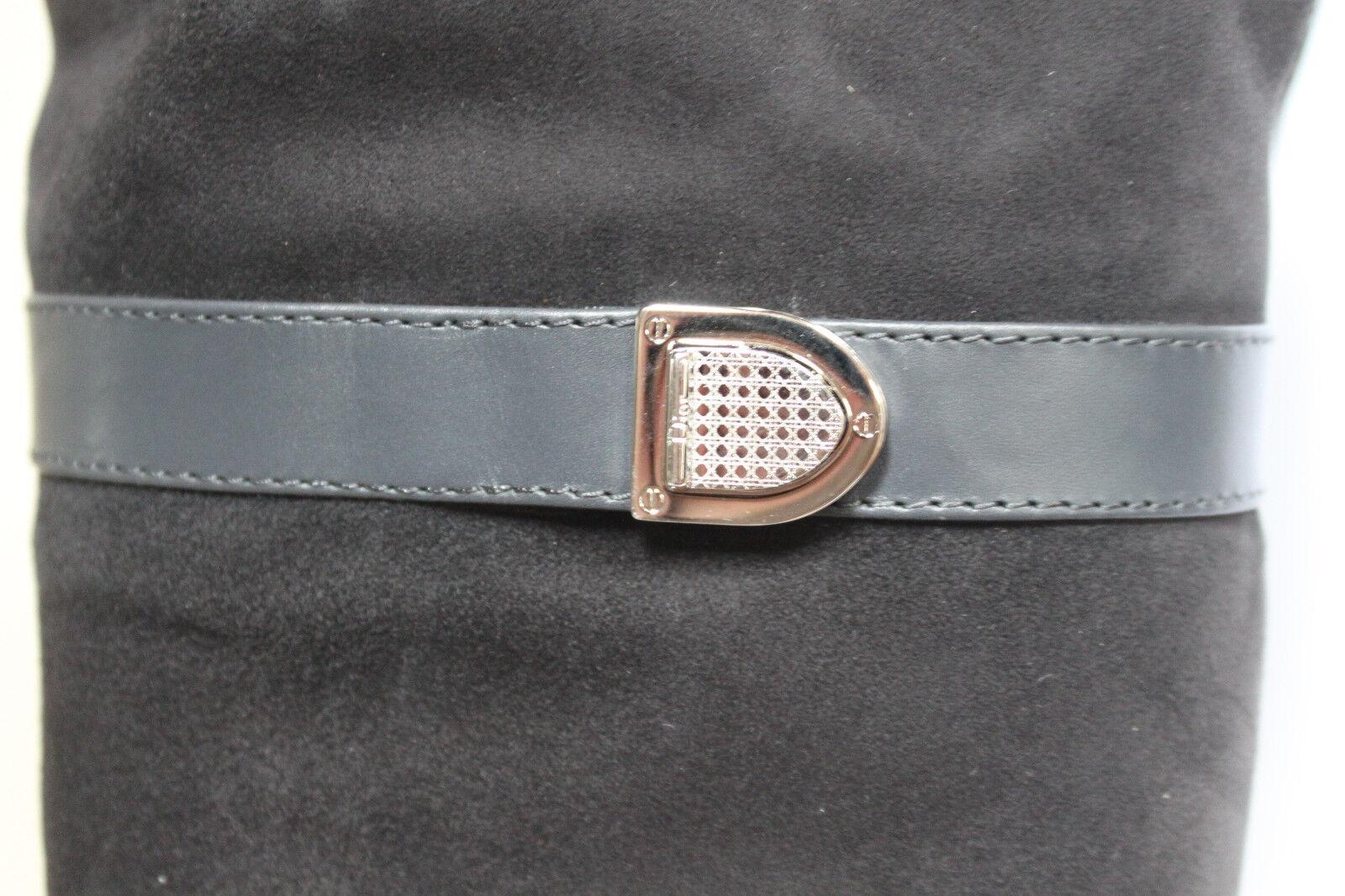 Nuevo 6.5 36.5 Christian Dior gris del Gamuza brodés alto Plana Zapatos bota de alto del gris muslo 1f5ccb