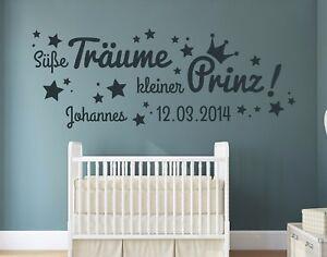 Details zu Wandtattoo Kinderzimmer Name Junge süße Träume kleiner Prinz  Wunschname pkm155