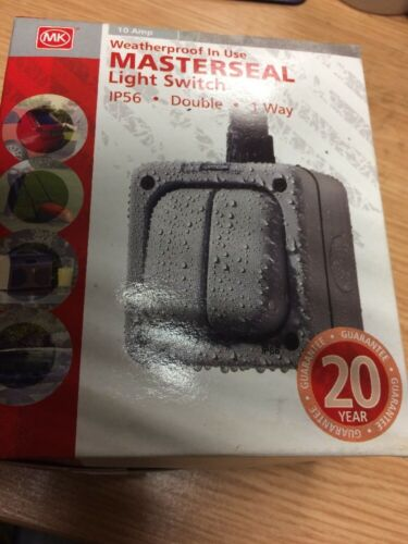 Mk Masterseal Switch 10 A 2 Gang 1 W SP IP56 Gris