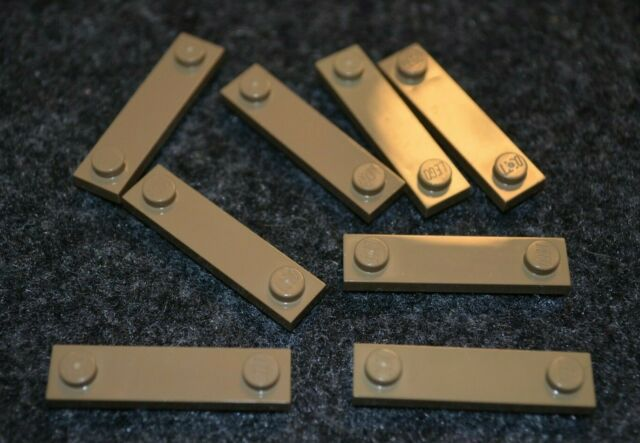 (8) 1x4 Dark Tan Plate Bricks with Smooth Middle ~ Lego ~ NEW ~