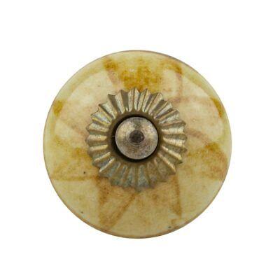 M/öbelknopf Keramik beige// blau rund Durchmesser 3 cm M/öbelknauf Schubladengriff M/öbelgriff
