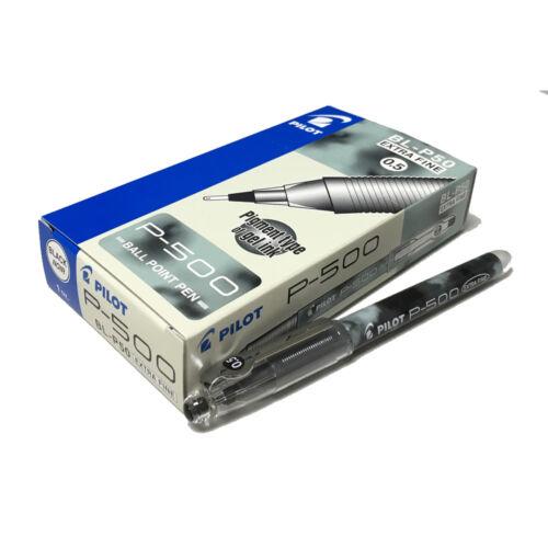 Pigment Gel Ink Pilot P-500 BL-P50 0.5mm Extra Fine BallPoint Pen 12pcs -Black