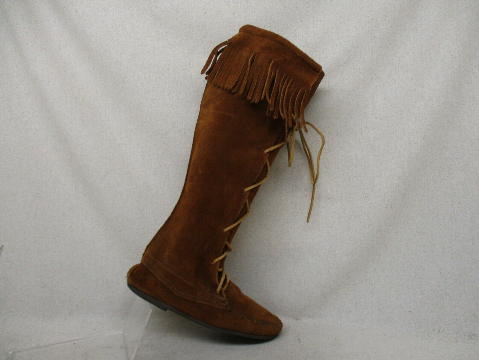 Minnetonka Brown Suede Leather Fringe Lace up Knee High Fashion Boots Size 7