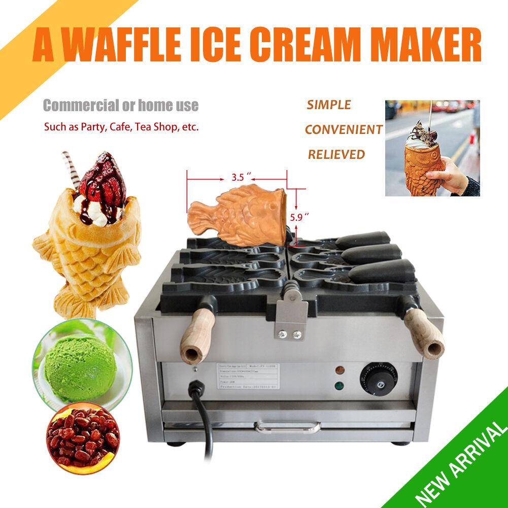 Commercial Poêlon électrique poisson 3pcs gaufre glace taiyaki Maker Gaufrier