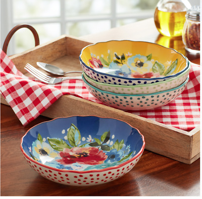 The Pioneer Woman Melody Pasta Bowls Set Of 4 Spaghetti Linguine Serving Plates Ebay
