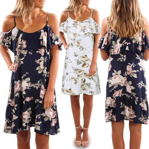 Women Summer Floral Folds Dress Off Shoulder Mini Dress Beach Party Clubwear