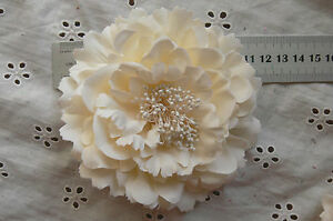 CREAM-Flower-BROOCH-PIN-with-HAIR-CLIP-Ready-to-wear-Fabric10-11cm