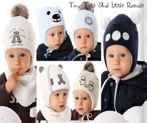 Baby Boy Infant Toddler Warm Acrylic Winter Bear Hat Xmas Santa Gift 0-12 mths